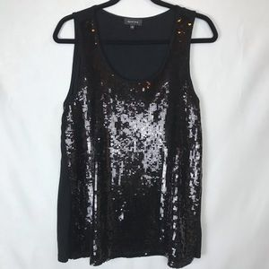 Spense Sequined Tank Black Size XL